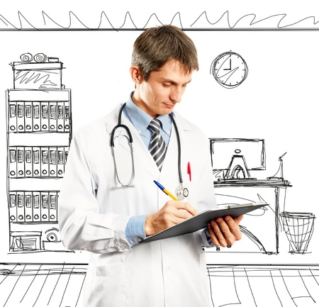 Doctor man with stethoscope and clipboard in his hands Stock Photo