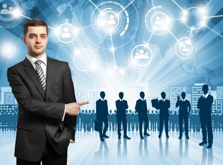 human capital: HR concept. Business man choosing the employee