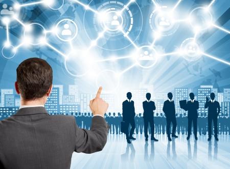 recruit: HR concept. Business man choosing the employee
