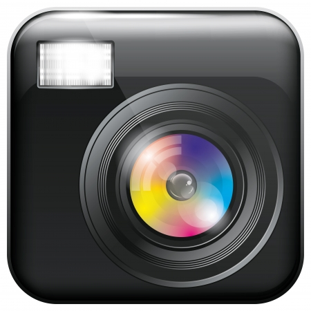 strobe light: Vector app icon with camera lens and flash light for web applications