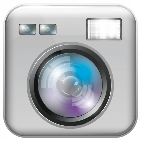 Vector app icon with camera lens and flash light for web applications Vector