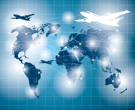 Travel concept. Vector business virtual background with blends. All elements are on separated layers