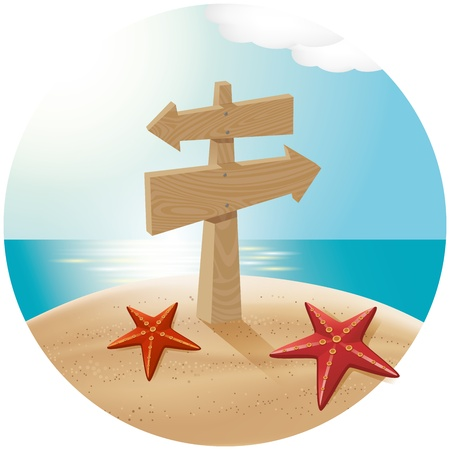 adress: Vector travel concept. Guidepost at the beach with the sea stars