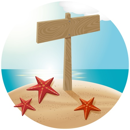 guidepost: Vector travel concept. Guidepost at the beach with the sea stars