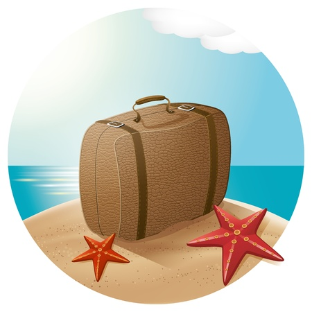 Vector travel concept. Suitcase at the beach with the sea stars Stock Vector - 20710148