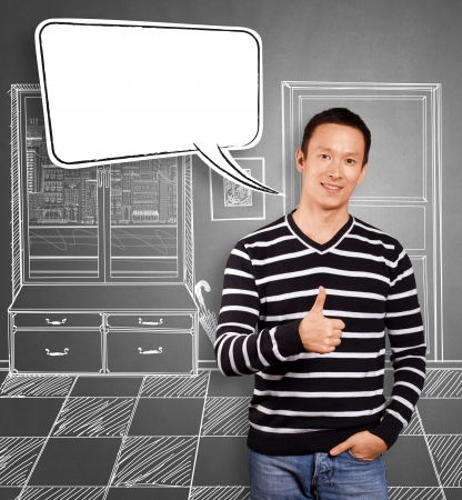 Asian man in striped with speech bubble photo