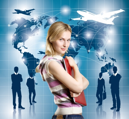 Travel concept. Businesswoman with virtual background photo