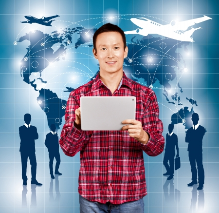 Travel concept. Businessman with virtual background photo
