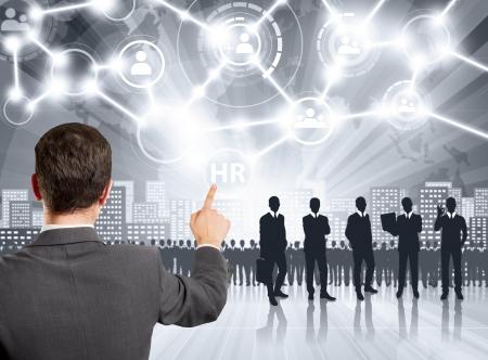 hr: HR concept. Business man choosing the employee