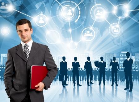 recruiting: HR concept. Business man choosing the employee