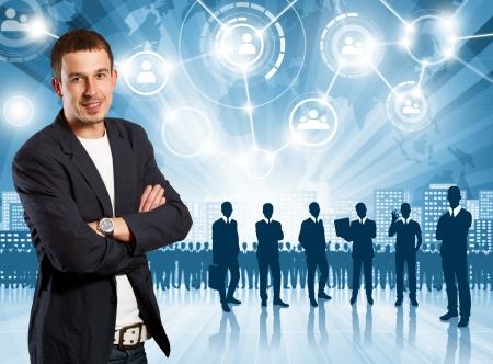 HR concept. Business man choosing the employee photo