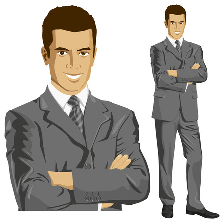 Vector business man in suit with folded hands. All layers well organised and easy to edit