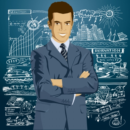 organised: Vector business man in suit with folded hands. All layers well organised and easy to edit Illustration