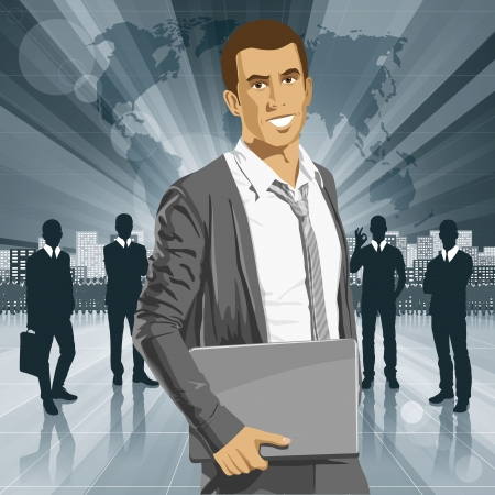 organised: Vector business man with laptop in his hands. All layers well organised and easy to edit Illustration