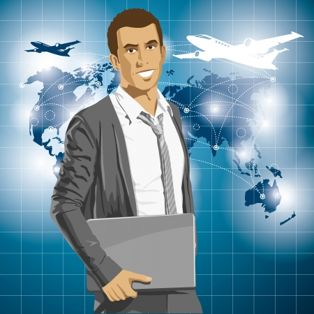 Vector Idea and travel concept. Business man with laptop in his hands. All layers well organised and easy to edit Vector