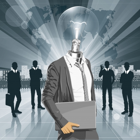 Vector Idea and concept. Lamp head business man with laptop in his hands. All layers well organised and easy to edit Stock Vector - 22236658