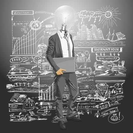 Vector Idea and concept. Lamp head business man with laptop in his hands. All layers well organised and easy to edit Vector