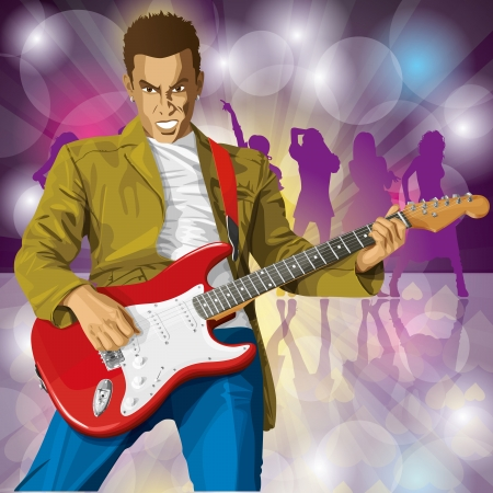 Vector punk man with the guitar. All layers well organised and easy to edit Vector