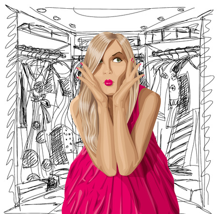 organised: Fashion concept. Vector surprised blonde in pink dress do not know what to wear. All layers well organised and easy to edit Illustration