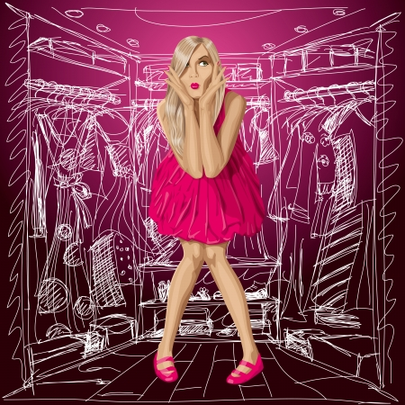 surprising: Fashion concept. Vector surprised blonde in pink dress do not know what to wear. All layers well organised and easy to edit Illustration