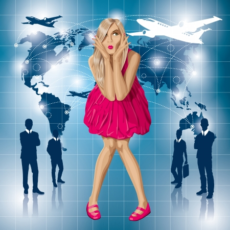 Travel concept. Vector surprised blonde in pink dress do not know where to fly. All layers well organised and easy to edit