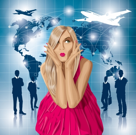 organised: Travel concept. Vector surprised blonde in pink dress do not know where to fly. All layers well organised and easy to edit