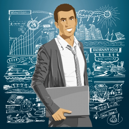 Vector business man with laptop in his hands. All layers well organised and easy to edit Vector