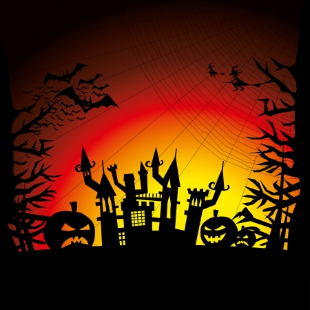 Vector Halloween background with pumpkin, bats and witch Vector