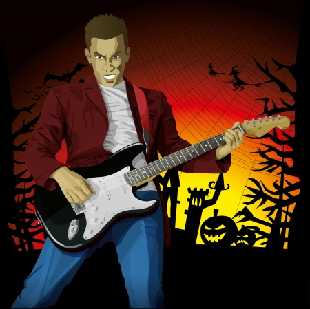 Vector Guitar Man Halloween background with pumpkin, bats and witch