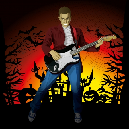 Vector Guitar Man Halloween background with pumpkin, bats and witch Vector