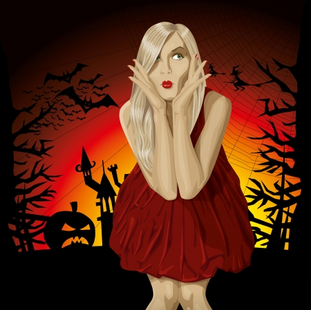 Vector Scary Woman Halloween background with pumpkin, bats and witch Vector