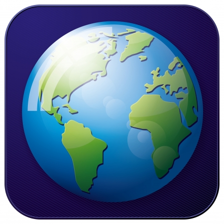 organised: Vector app icon of Earth Globe for web applications. All layers well organised and easy to edit