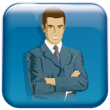 organised: Vector app icon with businessman for web applications. All layers well organised and easy to edit Illustration