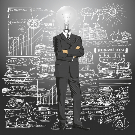 organised: Vector Idea and concept, Lamp head business man in suit. All layers well organised and easy to edit
