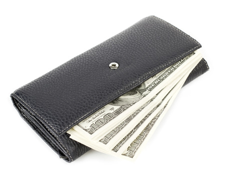 USA dollars in wallet, isolated on white background photo