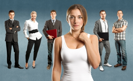 Business team against different backgrounds Stock Photo - 22478512