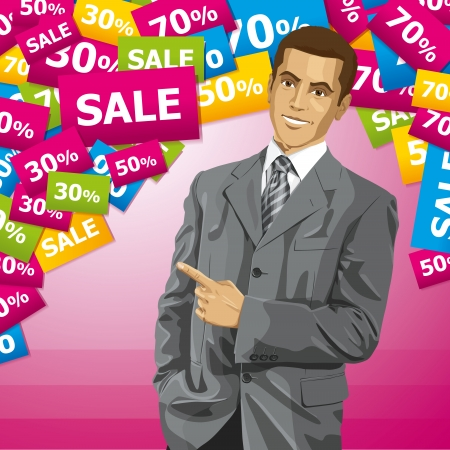 Sale concept. Vector business man show something with his finger. All layers well organized Illustration