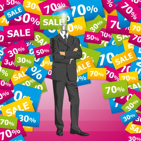 Sale concept. Vector business man in suit with folded hands. All layers well organized and easy to edit Vector