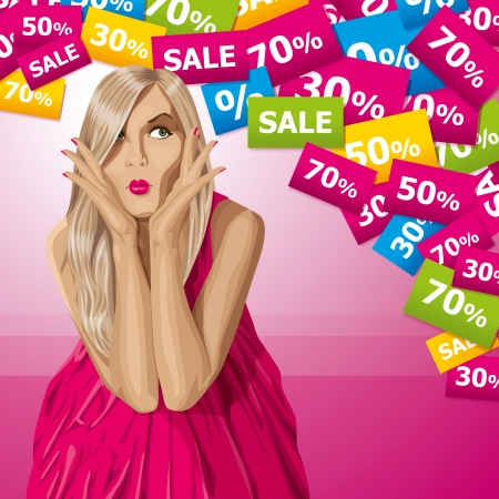 checkroom: Sale concept. Vector surprised blonde in pink dress do not know what to buy. All layers well organized and easy to edit