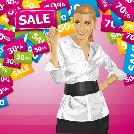 Sale concept. Vector Business woman writing something. All layers well organized and easy to edit Vector