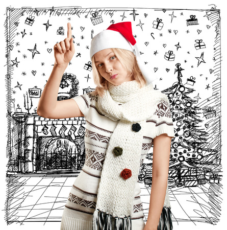 Woman with Santa hat against sketch background waiting for Christmas photo