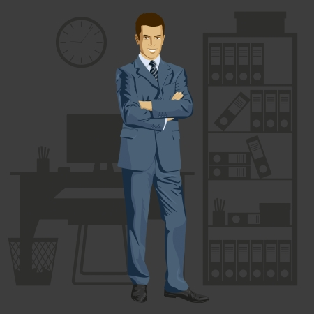 Vector business man in suit with folded hands. All layers well organized and easy to edit Illustration