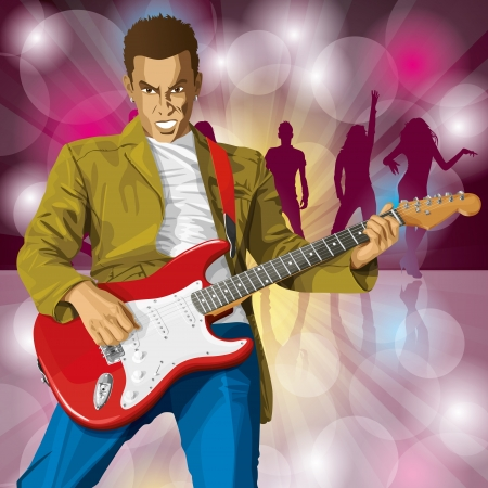 Vector punk man with the guitar. All layers well organised and easy to edit Stock Vector - 22816813