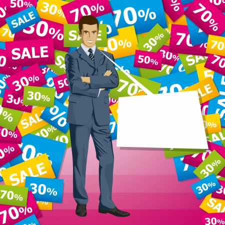 Sale concept. Vector business man in suit with folded hands. All layers well organized and easy to edit Stock Vector - 22993945