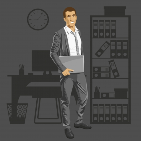 Vector business man with laptop in his hands. All layers well organized and easy to edit Vector