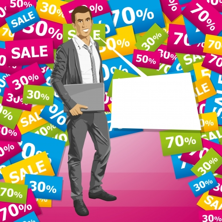 Sale concept. Vector business man in suit with folded hands. All layers well organized and easy to edit Stock Vector - 22993947