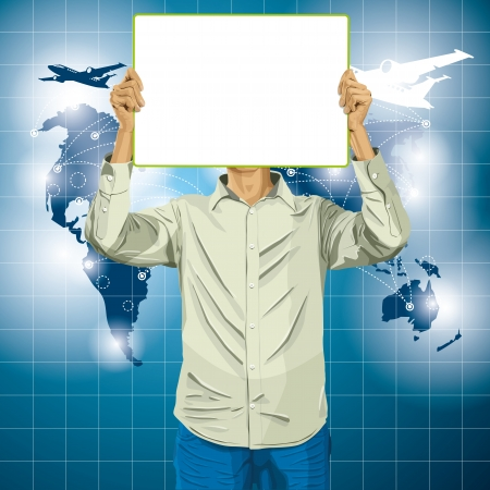Travel concept. Vector Man with write board in his hands against his head Vector