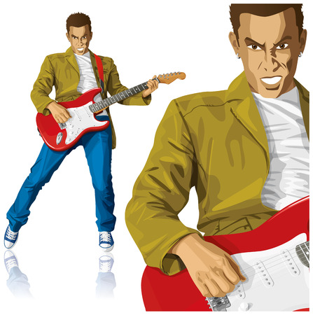 Vector punk man with the guitar. All layers well organized and easy to edit Stock Vector - 22993952