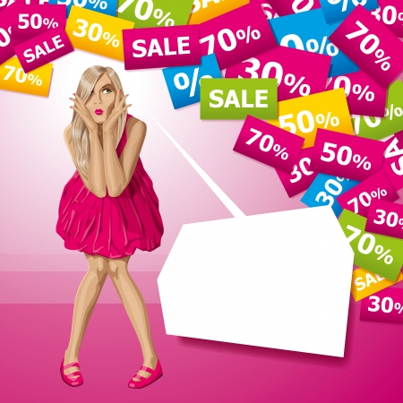 boutiques: Sale concept. Vector surprised blonde in pink dress do not know what to buy. All layers well organized and easy to edit