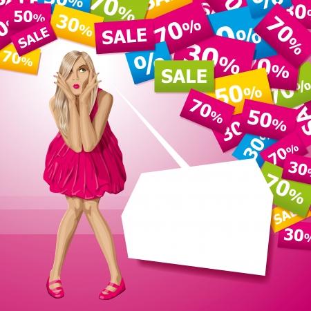 Verkoop concept. Vector verrast blonde in roze jurk niet weet wat te kopen. Alle lagen goed georganiseerd en gemakkelijk te bewerken